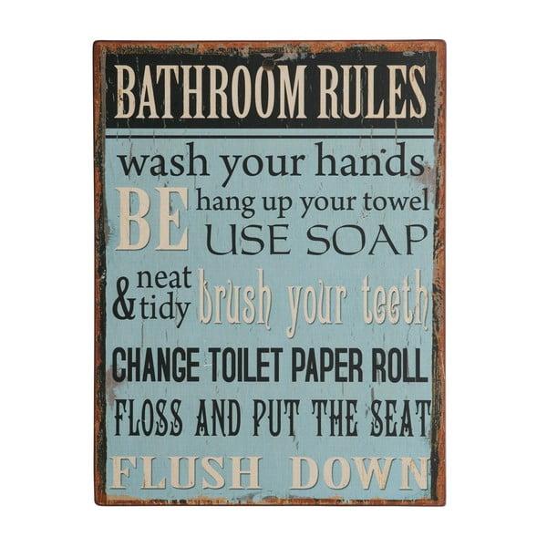 Cedule Bathroom rules, 35x27 cm
