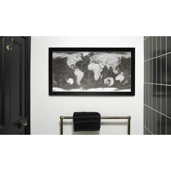 Mapa světa v průhledném pouzdru The Future Mapping Company Monochrome World Map, 130x72cm