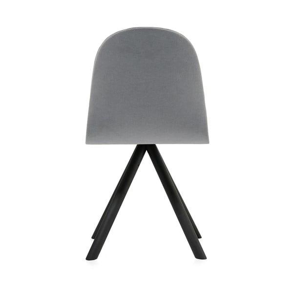 Scaun cu picioare negre Iker Mannequin Stripe, gri