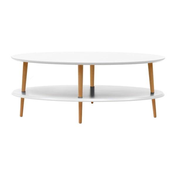 OVO fehér dohányzóasztal alsó polccal - Ragaba