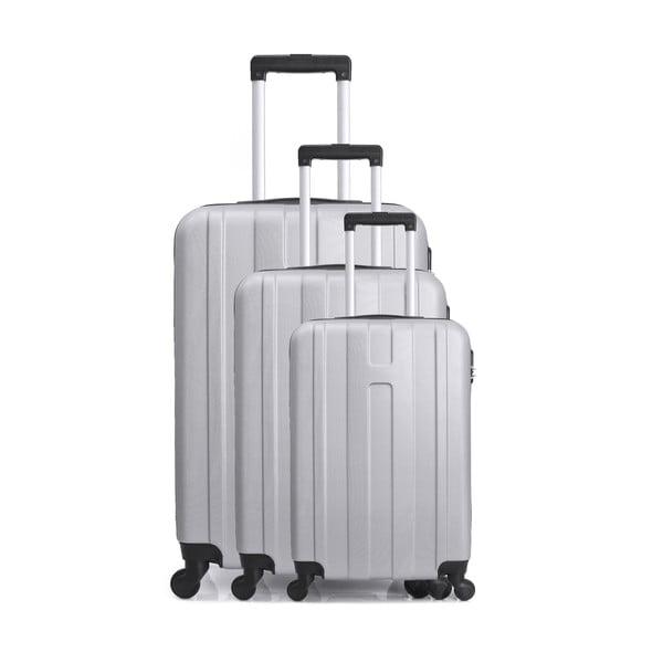 Set 3 valize cu roți pentru călătorie Hero Atlanta, alb - gri