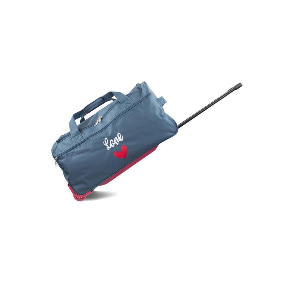 Modrá cestovní taška na kolečkách INFINITIF, délka 60 cm