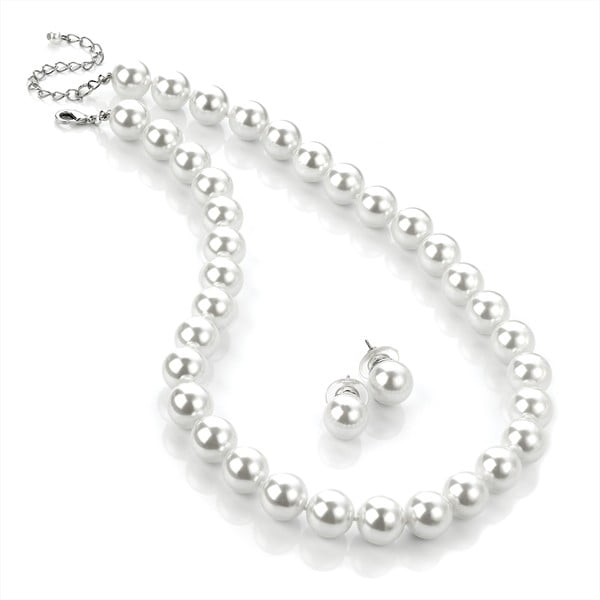 Sada náhrdelníku a náušnic Pearl Silver