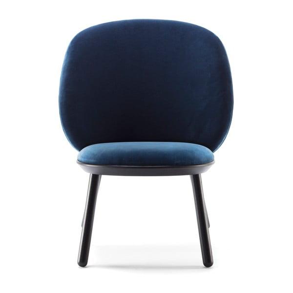 Naïve sötétkék fotel kőrisfa lábakkal és bőr részletekkel - EMKO