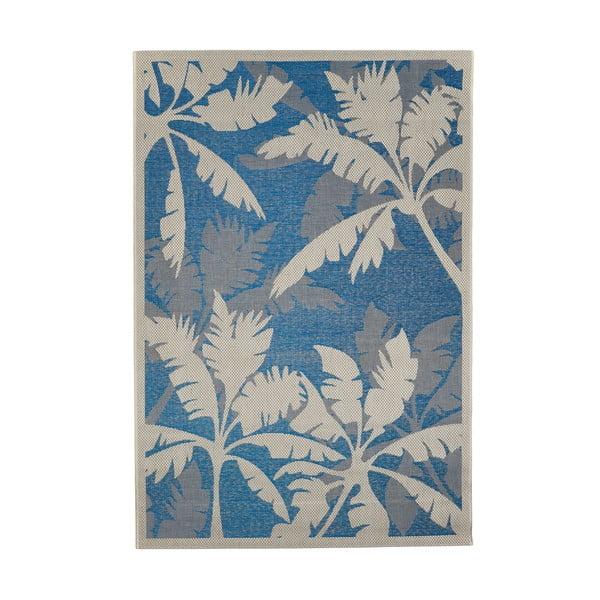Modro-šedý venkovní koberec Floorita Palms, 160 x 230 cm