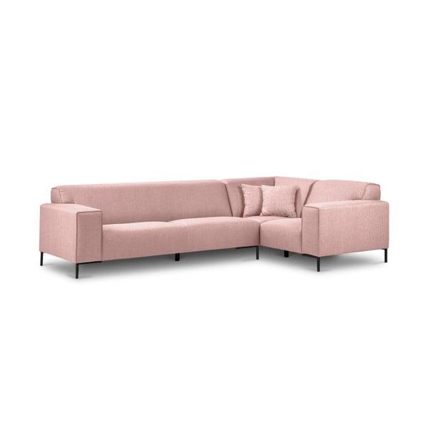 Ružová rohová štvormiestna pohovka Cosmopolitan Design Seville, pravý roh