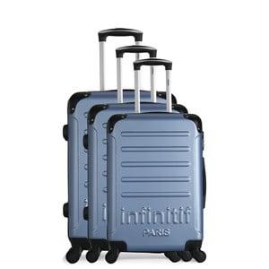 Sada 3 světle modrých cestovních kufrů na kolečkách Infinitif Horten-A