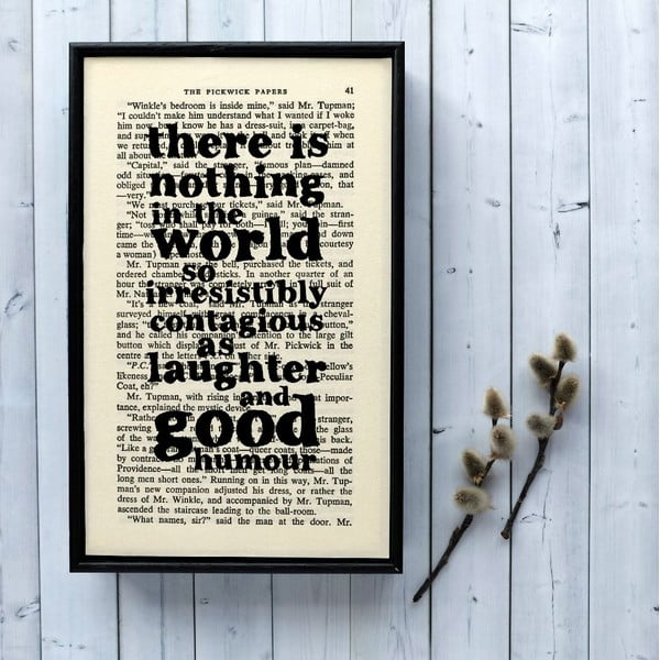 Plakát v dřevěném rámu Dickens Laughter