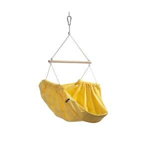 Žluté houpadlo z bavlny pro dospělé se zavěšením do stropu Hojdavak Maxi