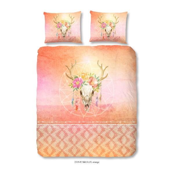 Lenjerie din bumbac pentru pat dublu Good Morning Skully Orange, 200 x 240 cm
