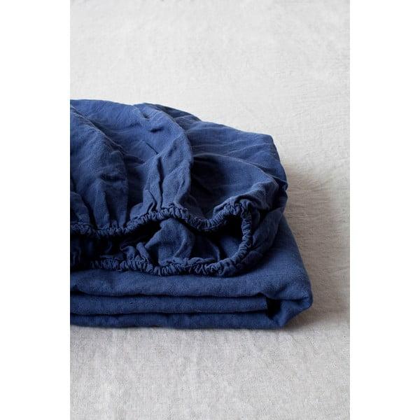 Cearșaf elastic din in Linen Tales, 90 x 200 cm, albastru marin