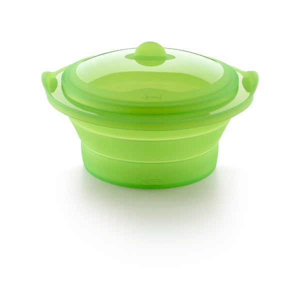 Recipient din silicon pentru gătire la aburi Lékué Collapsible Steamer, verde