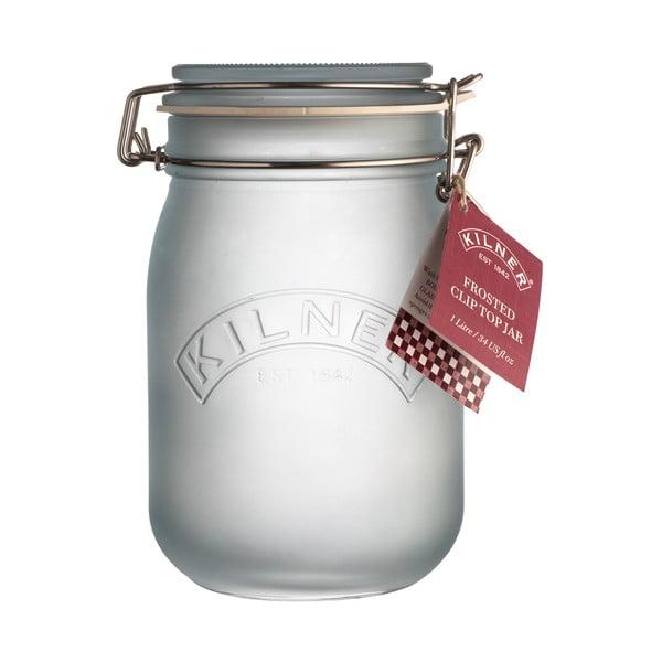 Mléčně modrá sklenice s klipem Kilner, 1 l