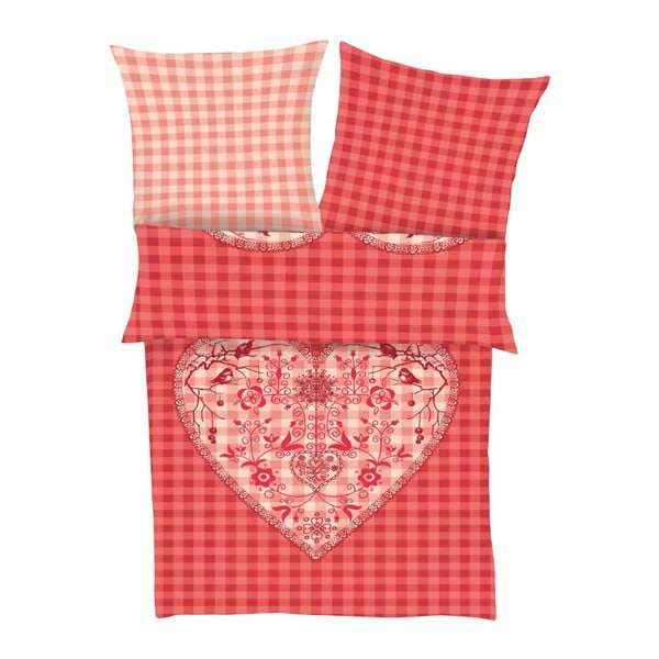 Povlečení Fine Flannel Red Heart, 140x200 cm
