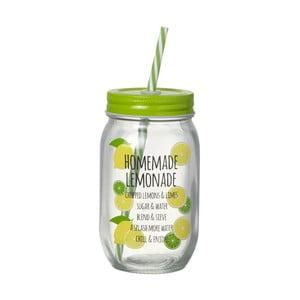 Zelená sklenice s brčkem Parlane Homemade Lemonade