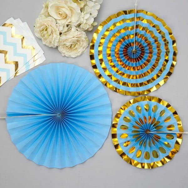 Set 3 ornamente din hârtie Neviti Pinwheel, albastru