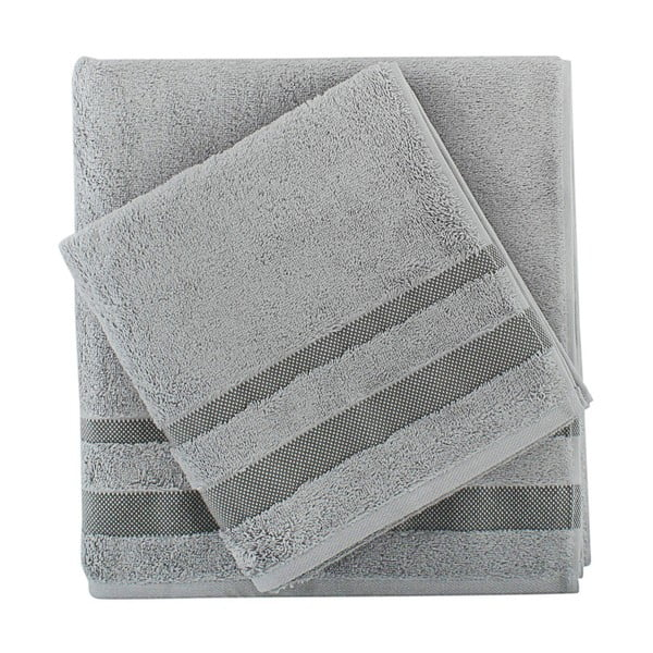Sada šedého ručníku a osušky Serit