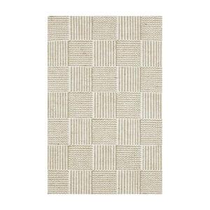 Bílo-béžový ručně tkaný koberec Linie Design Chess, 50x80cm