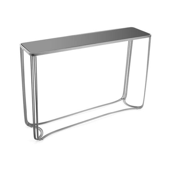 Aux ezüstszínű konzolasztal üveglappal - Versa