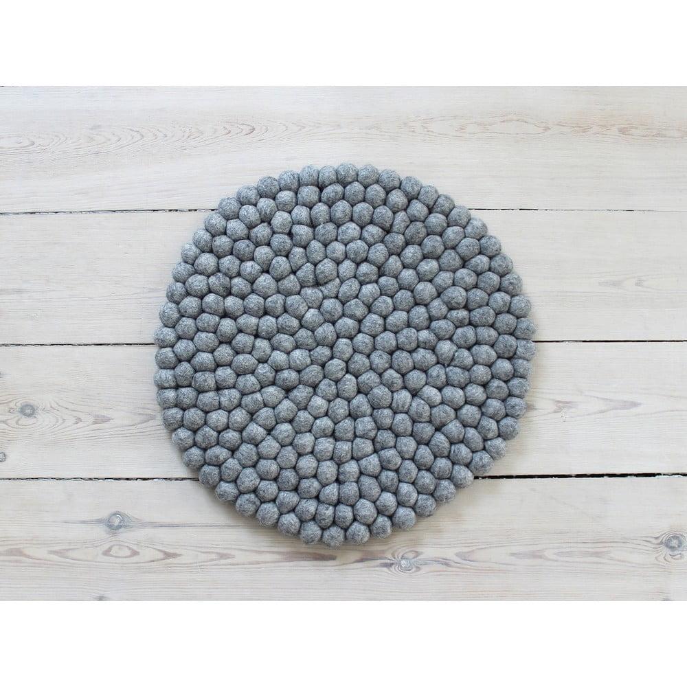 Ocelově šedý kuličkový vlněný podsedák Wooldot Ball Chair Pad, ⌀ 39 cm