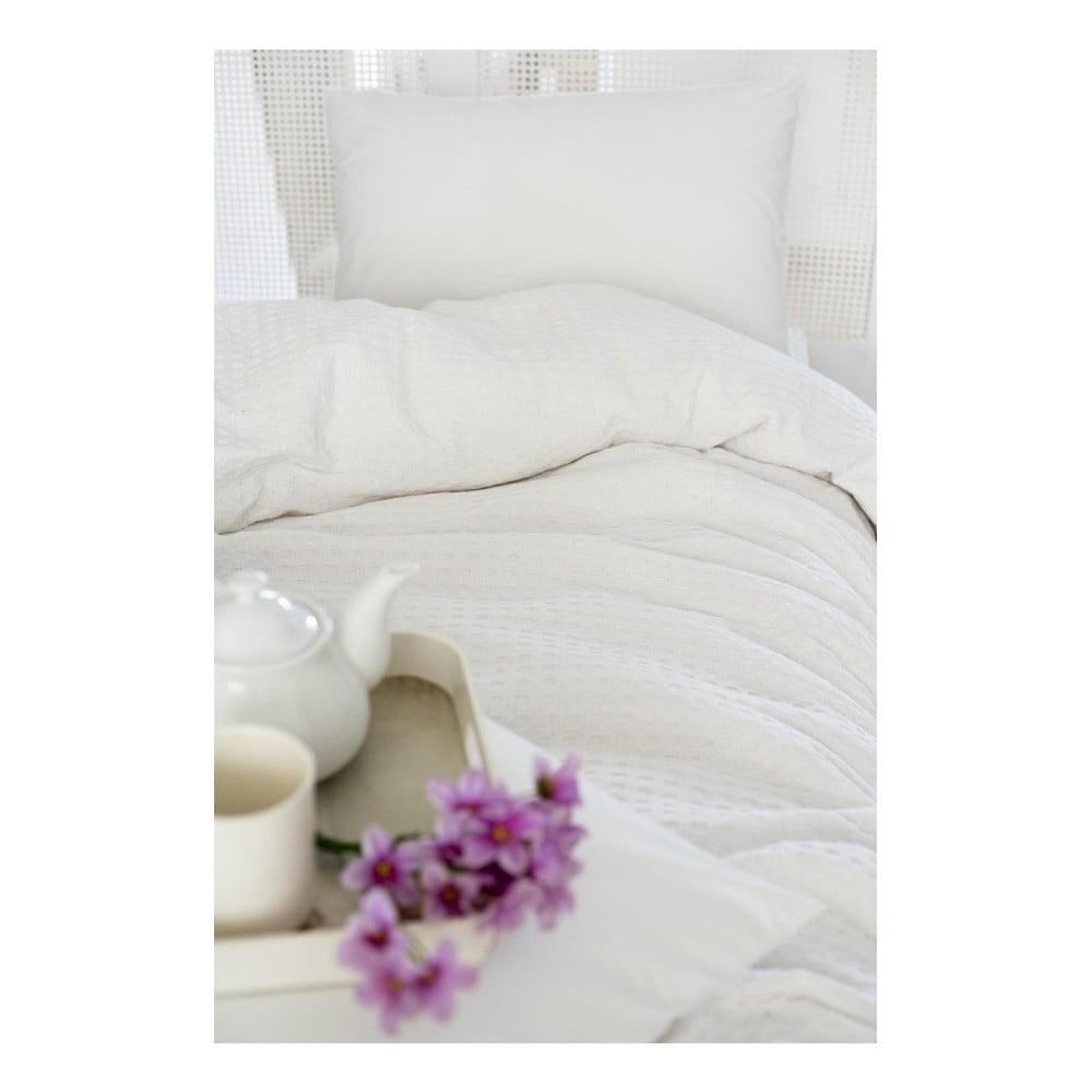 Bílá bavlněná přikrývka přes postel na dvoulůžko Pure, 200 x 240 cm