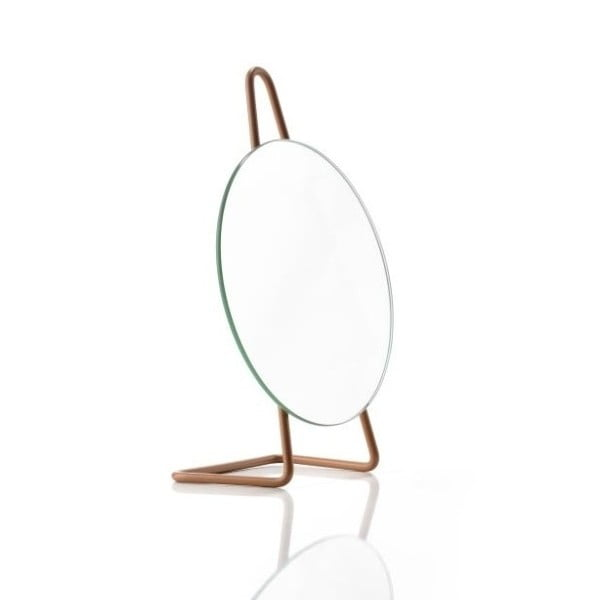 Jantarově oranžová ocelové stolní kosmetické zrcadlo Zone A-Mirror Amber, ø31cm