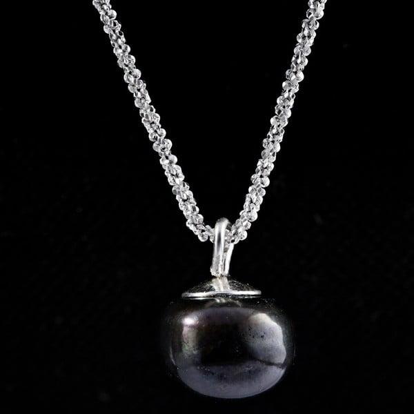 Stříbrný náhrdelník s černou perlou 11 mm
