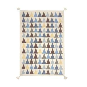 Ručně tkaný vlněný koberec s modrými detaily Art For Kids Triangles, 110x160cm