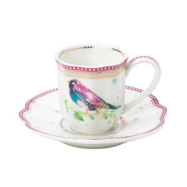Porcelánový šálek na espresso s podšálkem Birdie od Lisbeth Dahl, 2 ks