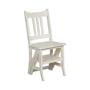Bílá židle z mahagonového dřeva a skládací žebřík v jednom Biscottini Claudia