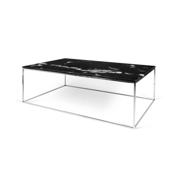 Černý mramorový konferenční stolek s chromovými nohami TemaHome Gleam, 120cm