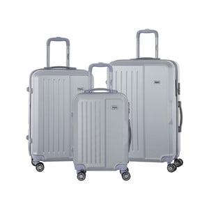 Sada 3 světle šedých cestovních kufrů na kolečkách se kódovým zámkem SINEQUANONE