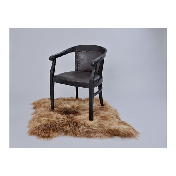Hnědý kožešinový koberec s dlouhým chlupem, 90x80cm