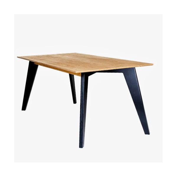 Masă dining cu picioare negre Radis Huh Oak, lungime 150 cm