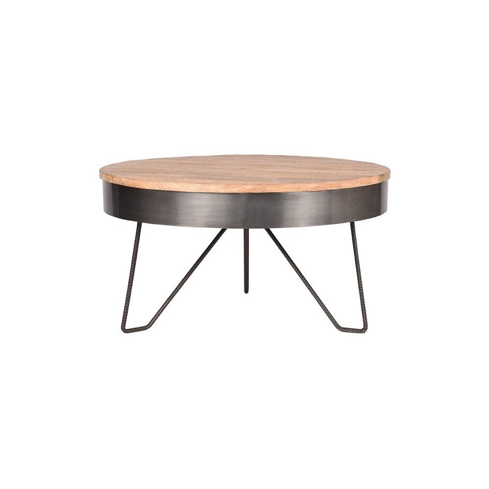 Šedý odkládací stolek s deskou z mangového dřeva LABEL51 Saran, ⌀ 80 cm