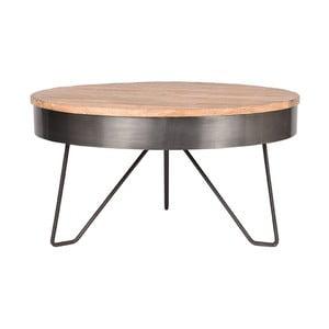 Šedý odkládací stolek sdeskou zmangového dřeva LABEL51 Saran, ⌀80cm