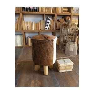 Stolička z teakového dřeva a kozí kůže Orchidea Milano