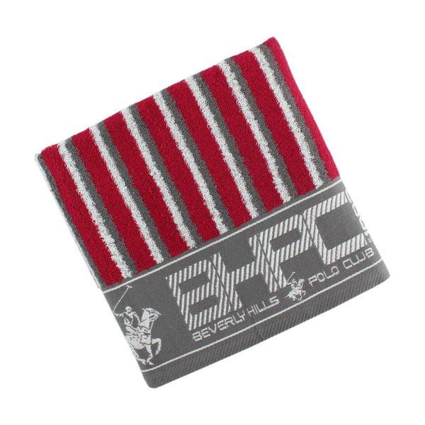Šedo-červený bavlněný ručník BHPC, 50x100 cm