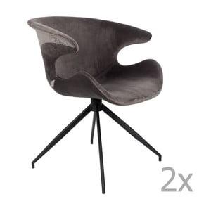 Sada 2 šedých židlí s područkami Zuiver Mia