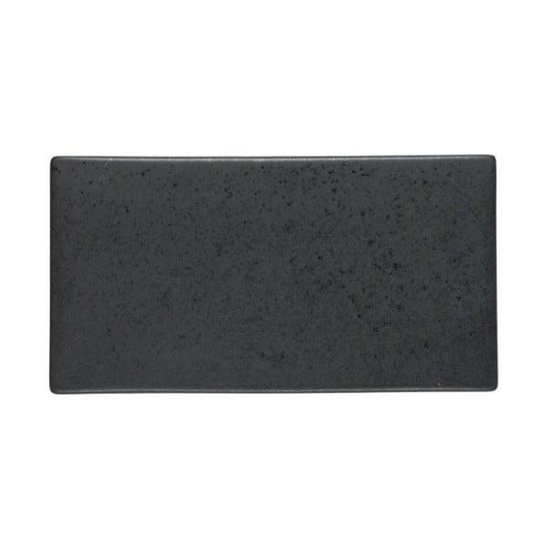 Čierny kameninový servírovací podnos Bitz Mensa, dĺžka 30 cm