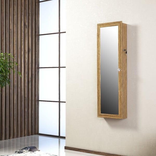 Uzamykatelné závěsné zrcadlo se šperkovnicí Lavinia, olivové