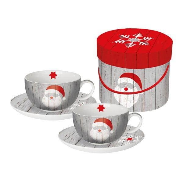 Sada 2 hrnků na cappuccino z kostního porcelánu s vánočním motivem v dárkovém balení PPD Santa On Wood, 200 ml