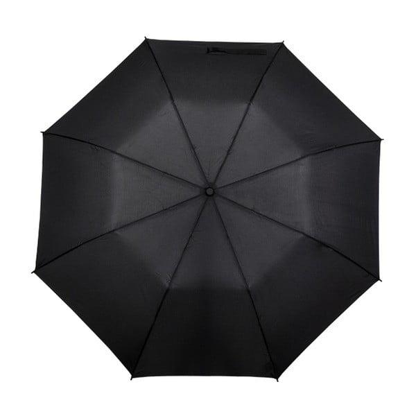 Černý skládací deštník Minimalistic, ⌀123cm