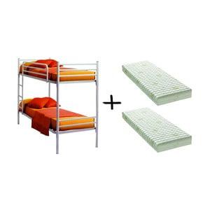 Set bílé patrové postele a 2 matrací 13Casa Bis, 90x190cm