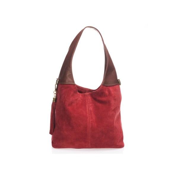 Červená kožená kabelka Lisa Minardi Eleanora