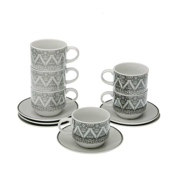 Set 6 hrnečků na čaj s podšálkem a stojanem Versa Ornament