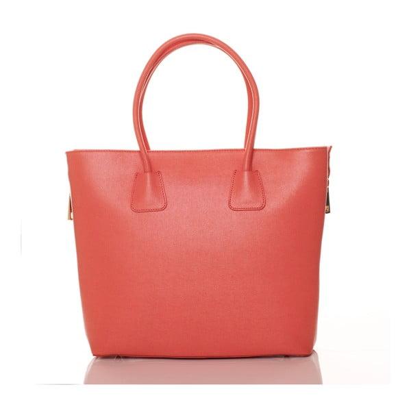 Korálově růžová kožená kabelka Federica Bassi Saffiano