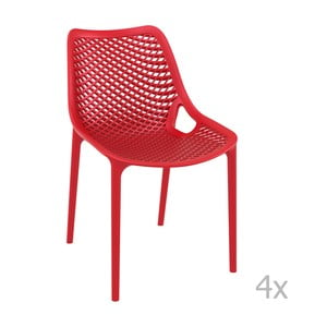 Sada 4 červených zahradních židlí Resol Grid
