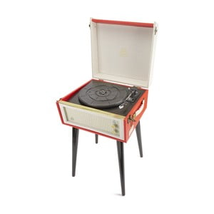 Červený gramofon s rádiem na nohách GPO Bermuda Red