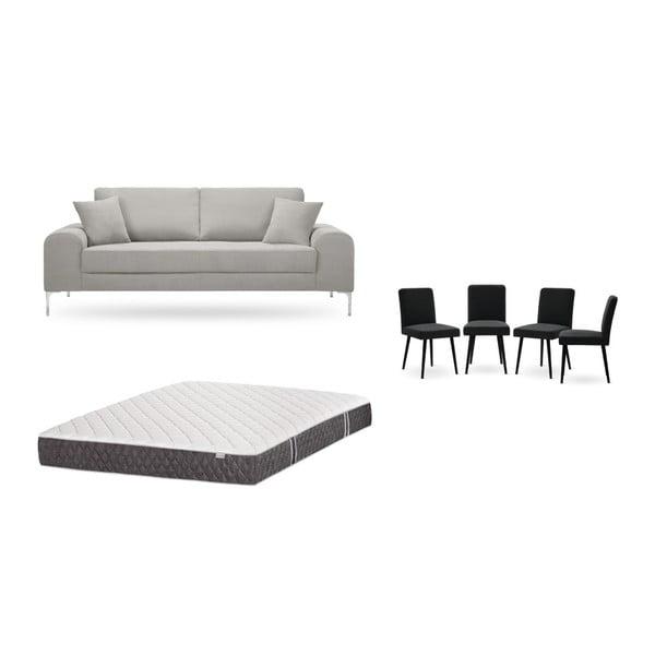 Set canapea gri cu 3 locuri, 4 scaune negre, o saltea 160 x 200 cm Home Essentials